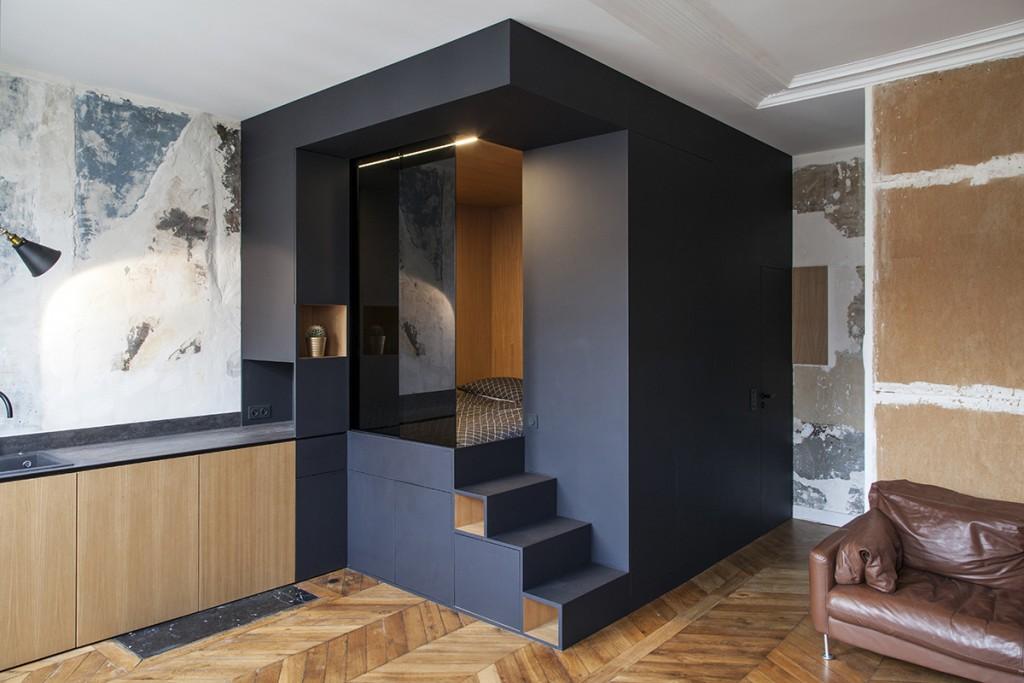 conseils pour cloisonner l espace dans un studio la mini. Black Bedroom Furniture Sets. Home Design Ideas